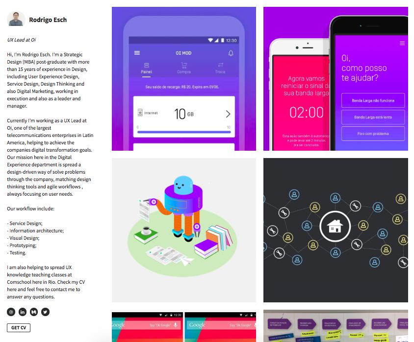 Senior UX Designer Portfolio - Portfolio profile page