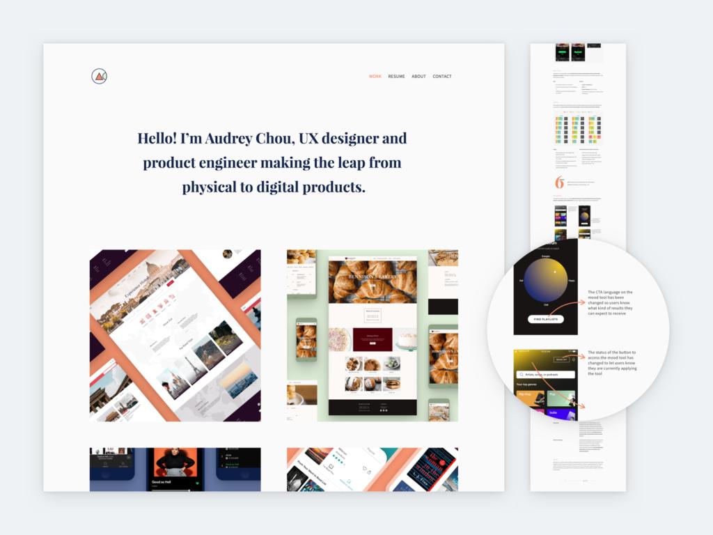 Screenshot of Audrey Chou's portfolio