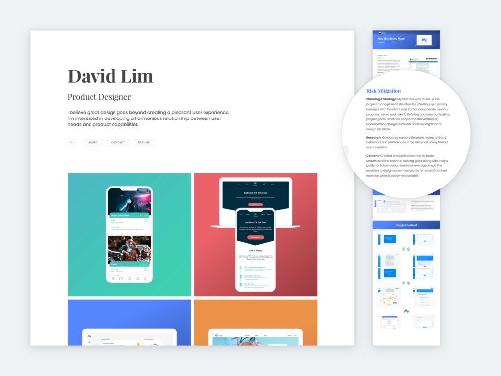 Screenshot of David Lim's portfolio