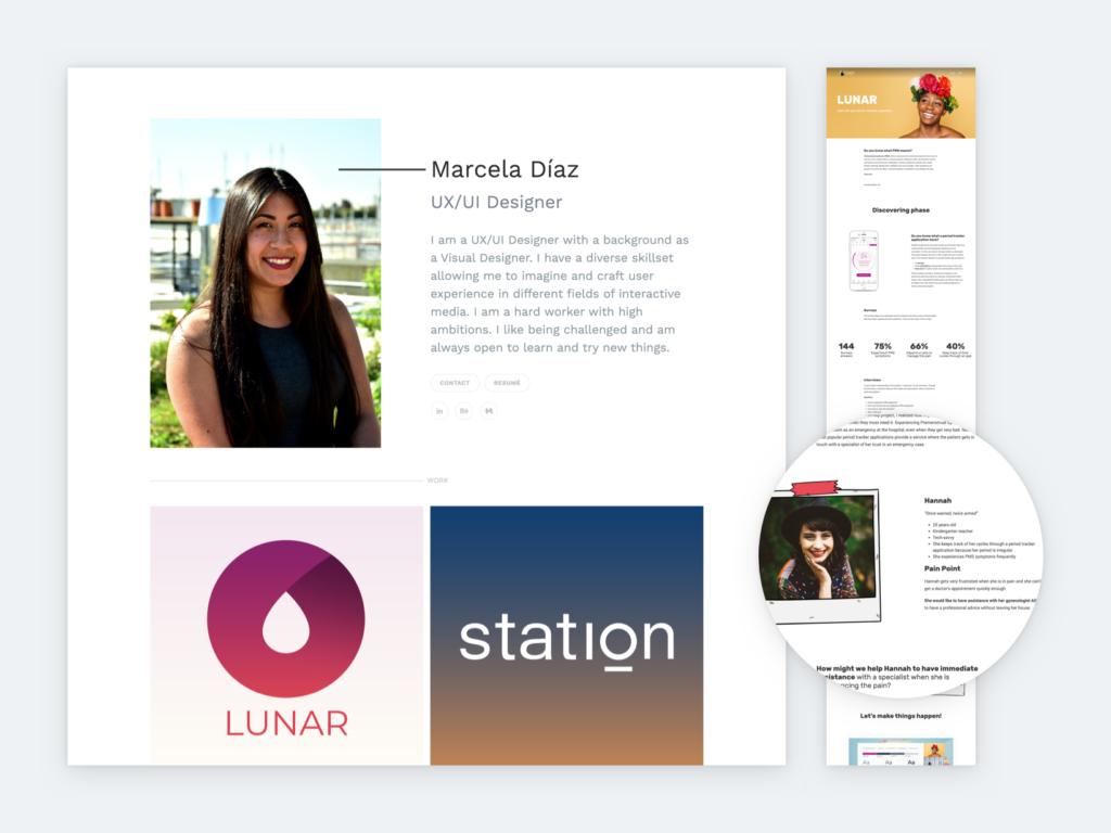 Screenshot of Marcela Diaz's portfolio
