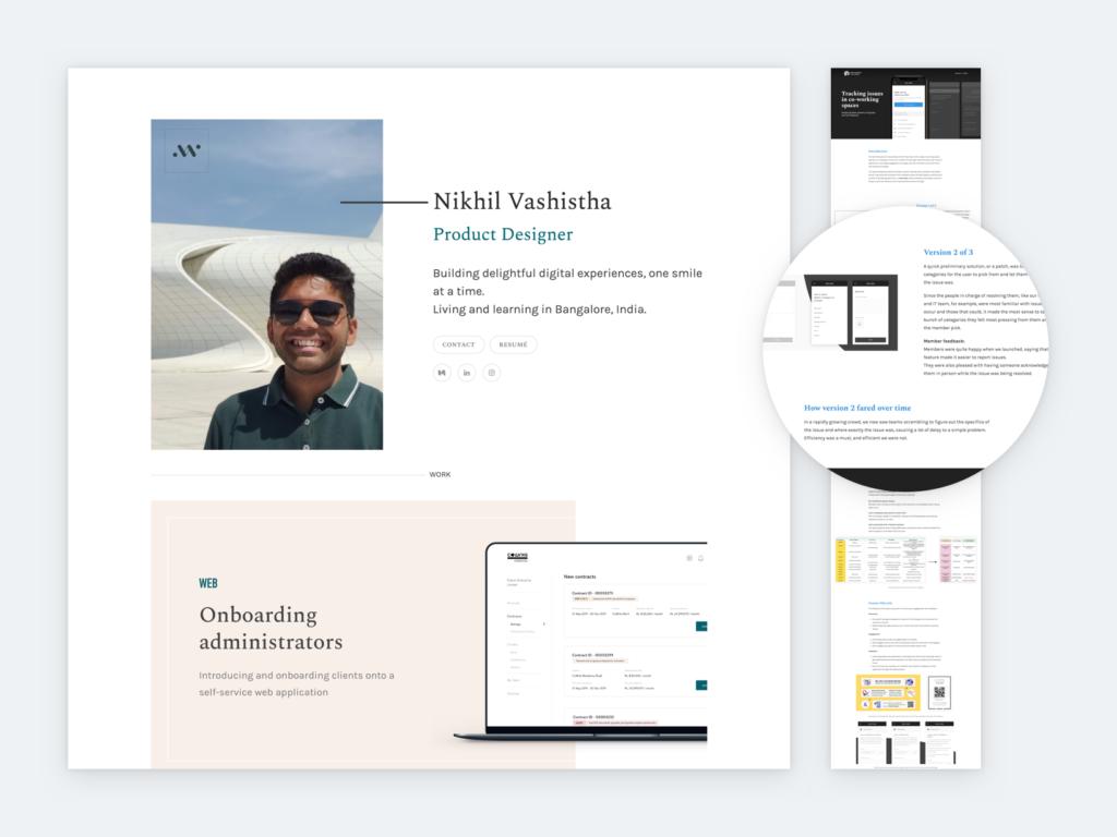 Screenshot of Nikhil Vashista's portfolio